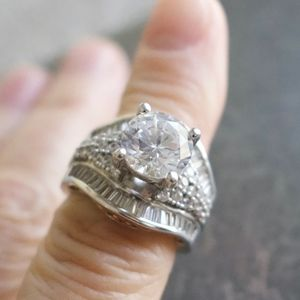 White Diamond Simulant Statement Ring
